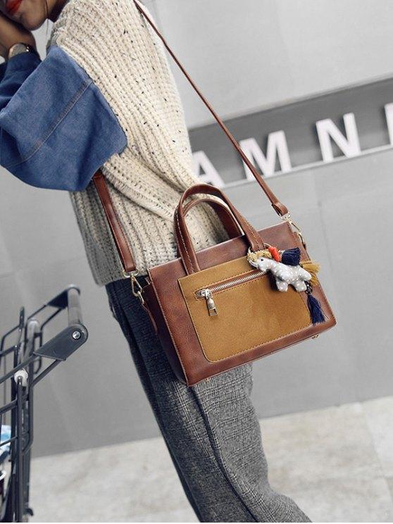 Color Blocking Pendant Handbag - BROWN  Mobile