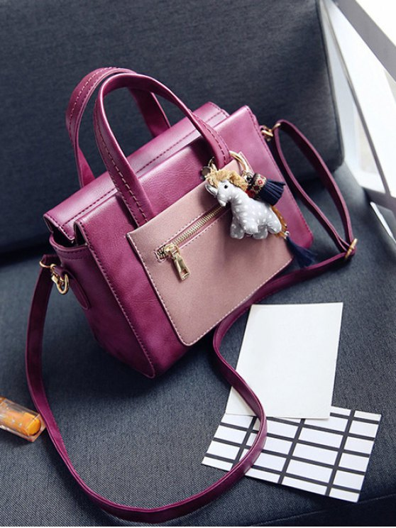 Color Blocking Pendant Handbag - PURPLISH RED  Mobile