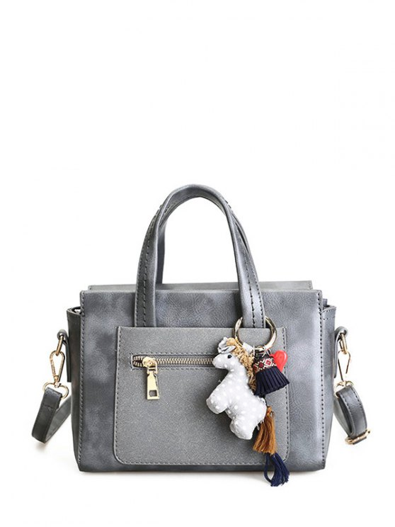 Color Blocking Pendant Handbag - GRAY  Mobile