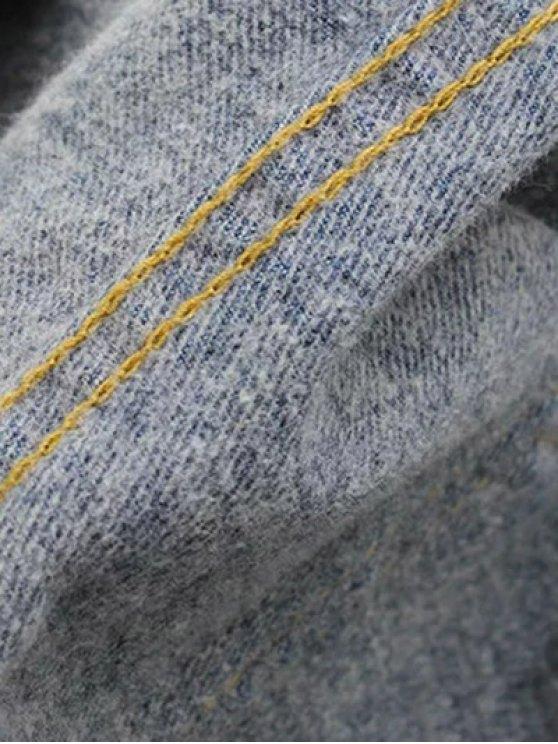High Waisted Frayed Hem Wide Leg Jeans - BLACK L Mobile