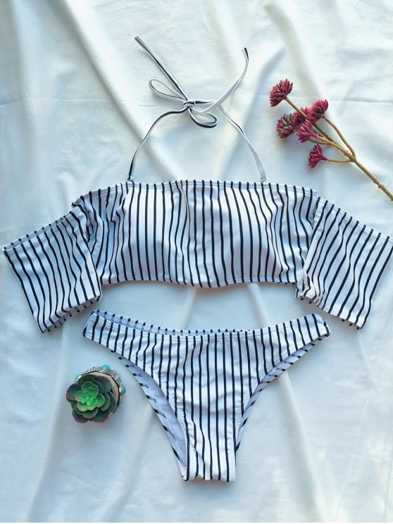 Off The Shoulder Strappy Striped Bikini Set - WHITE S Mobile