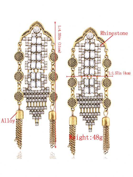 Chain Tassel Rhinestone Hollow Out Earrings - GOLDEN  Mobile