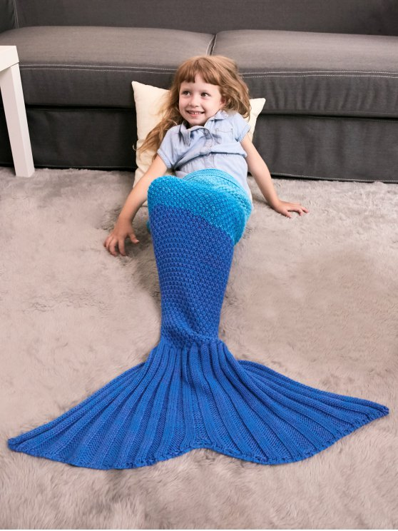 Color Block Knit Kids' Mermaid Blanket Throw -   Mobile