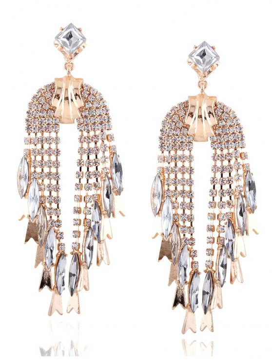 Rhinestoned Water Drop Dangle Earrings - CHAMPAGNE  Mobile