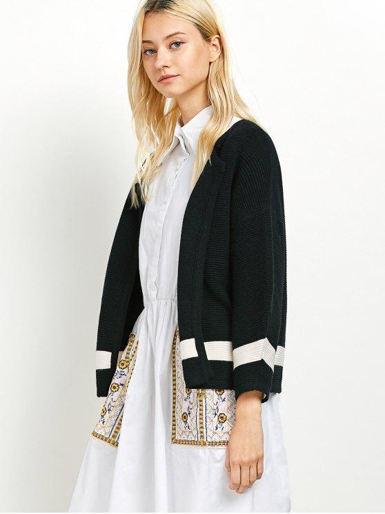Dropped Shoulder Open Cardigan - BLACK ONE SIZE Mobile