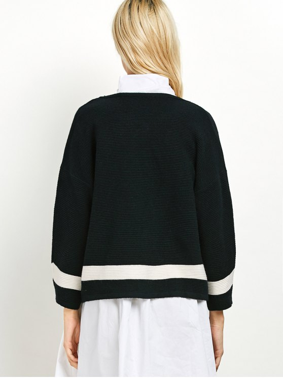 Dropped Shoulder Open Cardigan - BLACK ONE SIZE Mobile