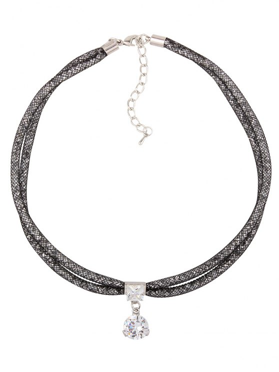 Rhinestone Mesh Pendant Necklace - BLACK  Mobile