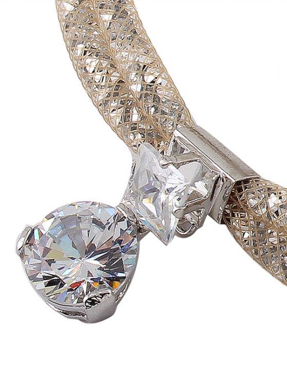 Rhinestone Mesh Pendant Necklace - CHAMPAGNE  Mobile
