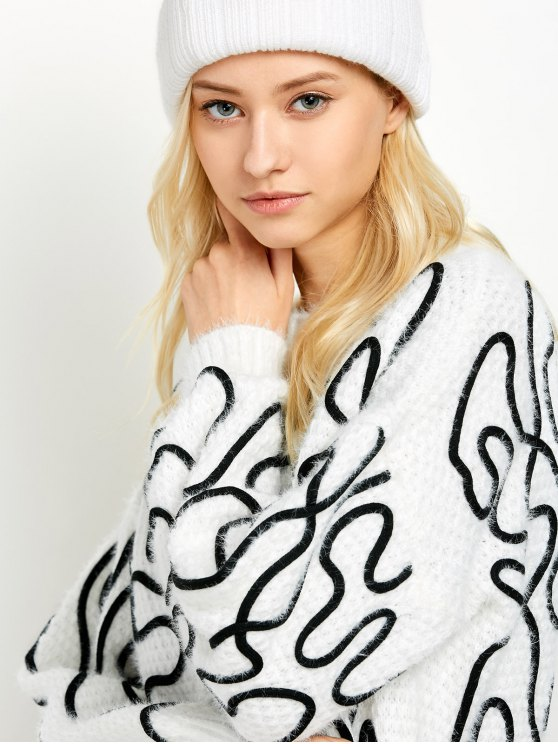 Crew Neck Fuzzy Abstract Sweater - WHITE ONE SIZE Mobile