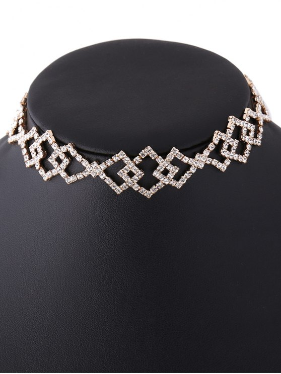 Hollow Out Rhinestoned Rhombus Necklace - CHAMPAGNE  Mobile
