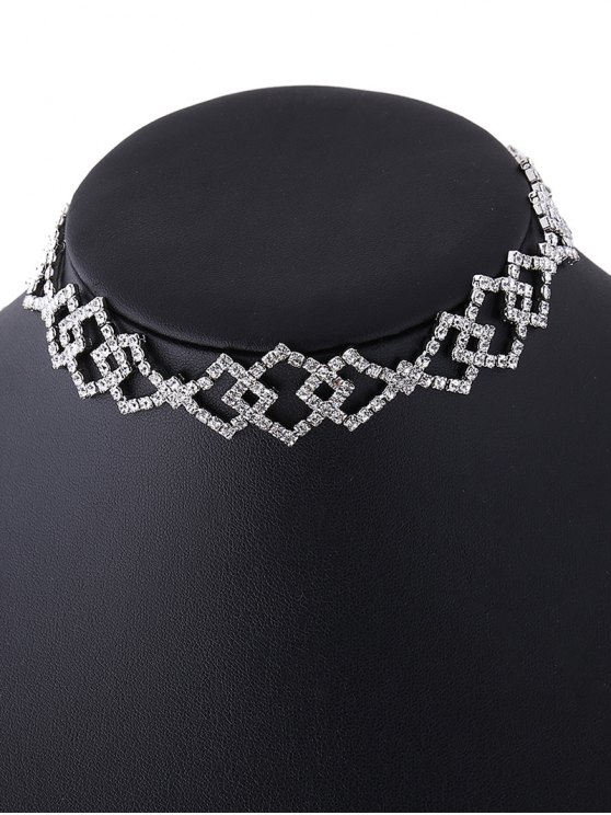 Hollow Out Rhinestoned Rhombus Necklace -   Mobile