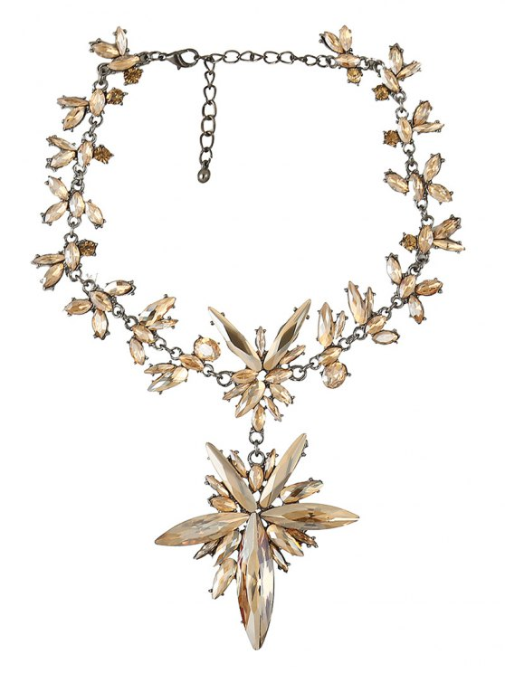 Polished Rhinestone Floral Necklace - CHAMPAGNE  Mobile