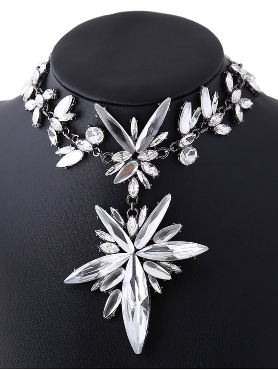 Polished Rhinestone Floral Necklace -   Mobile