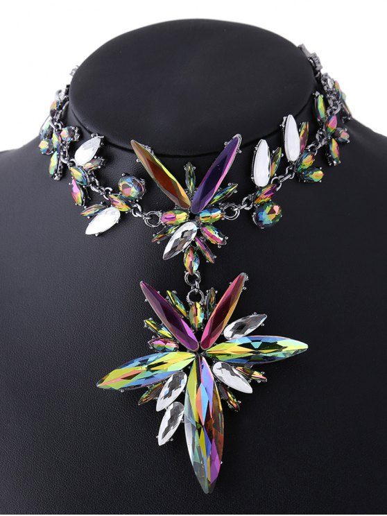 Polished Rhinestone Floral Necklace - COLORFUL  Mobile