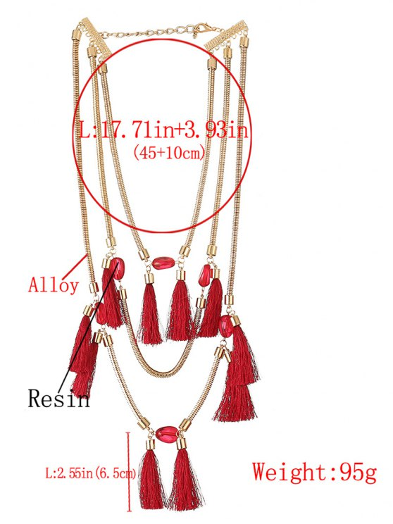 Multilayer Tassel Pendant Necklace - RED  Mobile