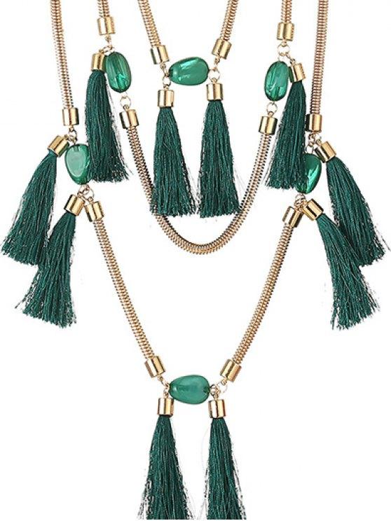Multilayer Tassel Pendant Necklace - DEEP GREEN  Mobile