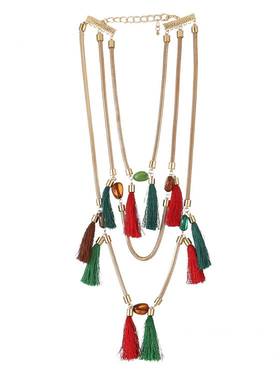 Multilayer Tassel Pendant Necklace - COLORFUL  Mobile