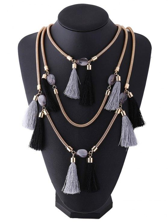 Multilayer Tassel Pendant Necklace - BLACK GREY  Mobile