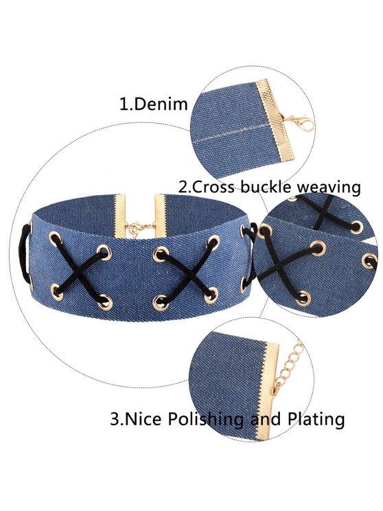 Denim Criss Cross Choker Necklace - DENIM BLUE  Mobile