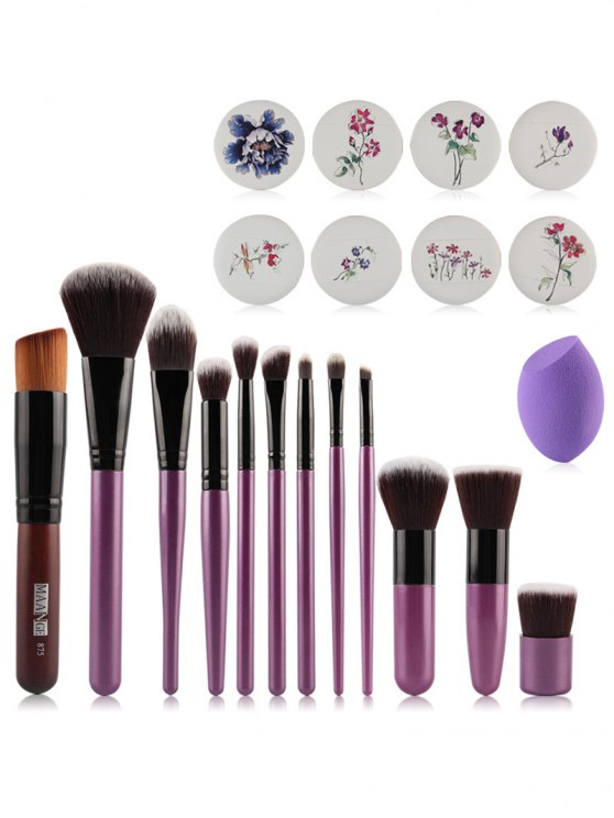shop Makeup Brushes + Air Puffs + Beauty Blender - PURPLE
