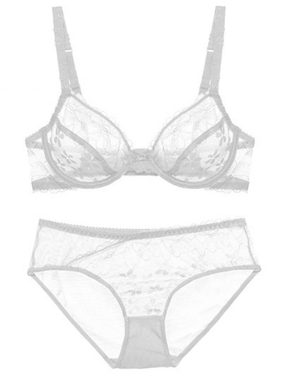 Low Cut Sheer Floral Lace Bra Set - WHITE 80B Mobile