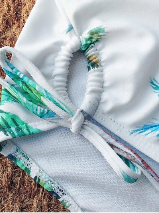 Halter High Leg Coconut Palm Swimsuit - WHITE L Mobile