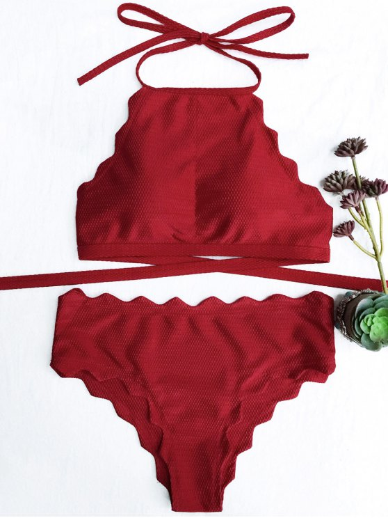 sale Scalloped High Neck Tie Back Bikini Swimwear - RED L