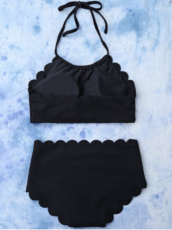 High Rise Halter Scalloped Bathing Suit - BLACK S Mobile