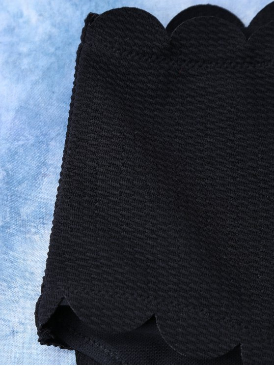 High Rise Halter Scalloped Bathing Suit - BLACK XL Mobile