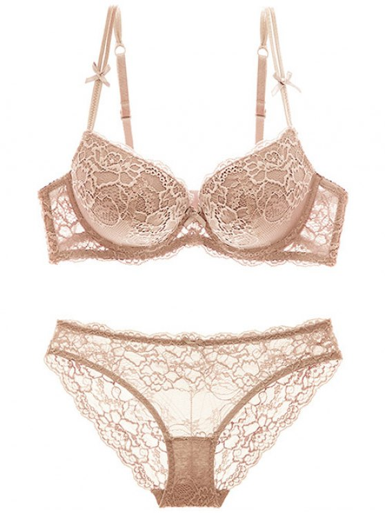 Double Straps Bowknot Lace Panel Bra Set - SKIN COLOR 75C Mobile
