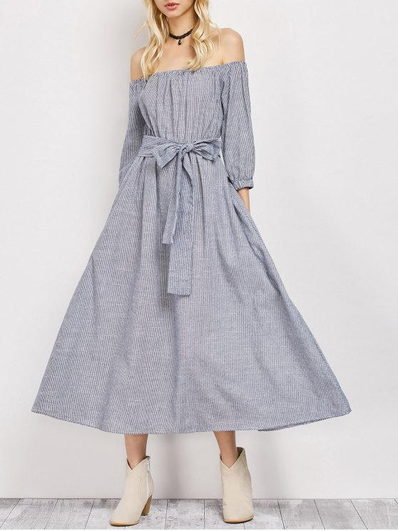 Belted Off The Shoulder Midi Dress - STRIPE XL Mobile