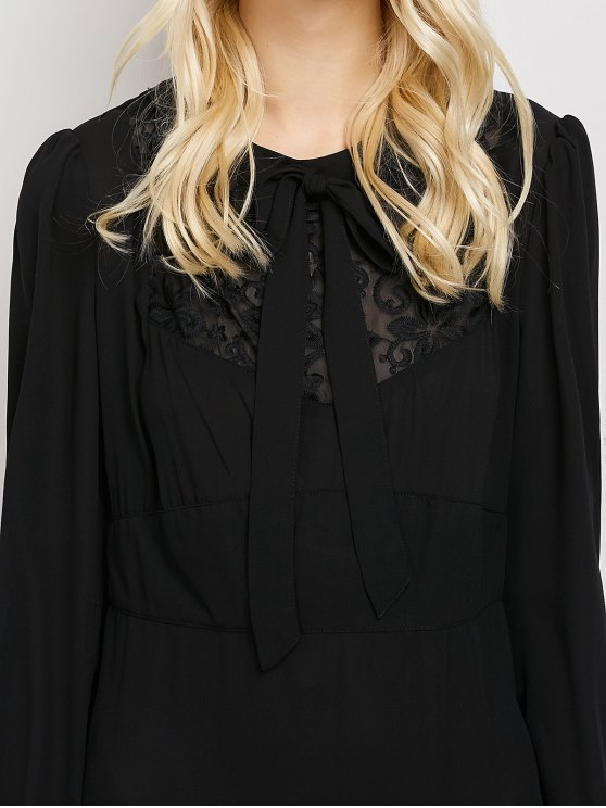 Lace Panel A-Line Dress - BLACK S Mobile