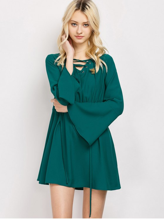 Lace-Up Mini Dress - GREEN XL Mobile