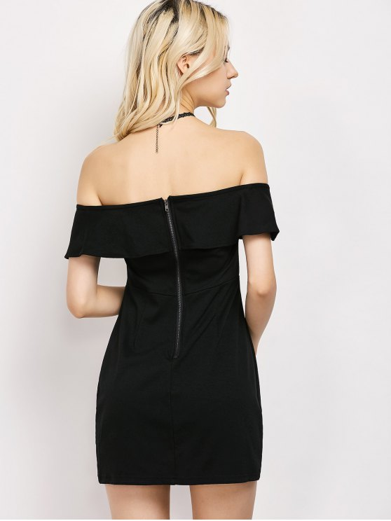 Rose Off The Shoulder Bodycon Dress - BLACK M Mobile
