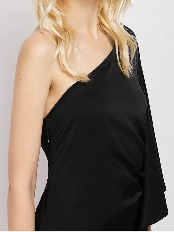 One Shoulder Asymmetric Semi Formal Dress - BLACK L Mobile
