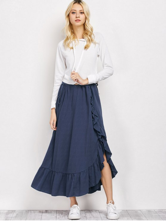 Drawstring Ruffles Slit Skirt - BLUE S Mobile