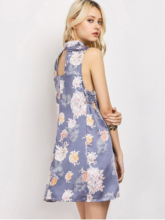 Sleeveless Flower Swing Dress - FLORAL M Mobile