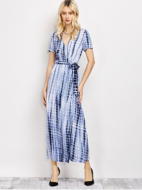 Tie-Dyed Short Sleeve Surplice Maxi Dress - DEEP BLUE L Mobile
