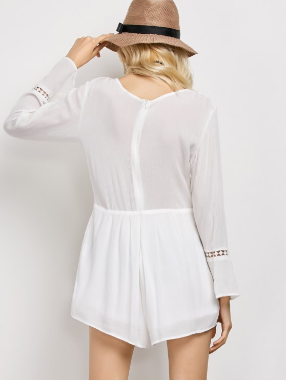 Lacework Panel V Neck Romper - WHITE M Mobile