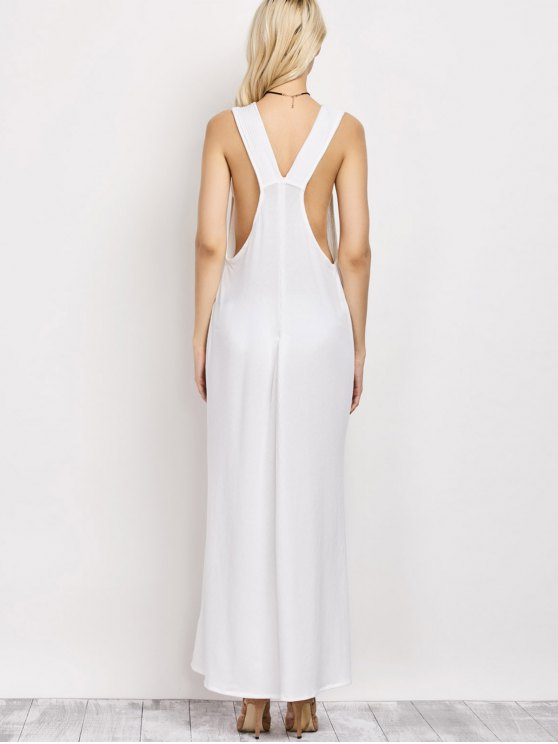 High Slit Lace-Up Maxi Dress - WHITE 2XL Mobile