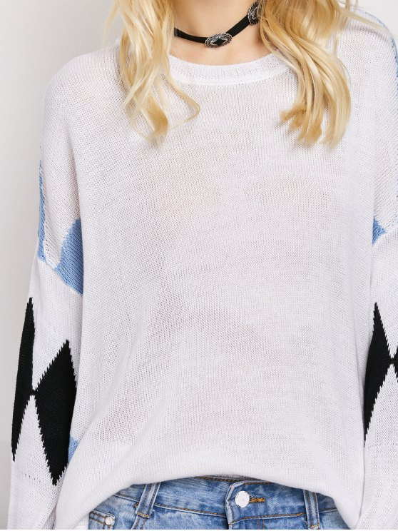 Lace Up Color Block Oversized Sweater - WHITE L Mobile