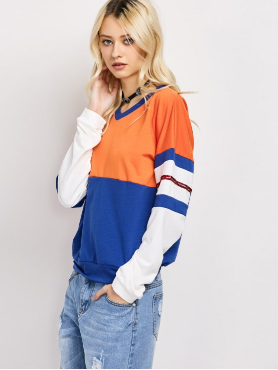 Color Block Casual Sweatshirt - BLUE XL Mobile