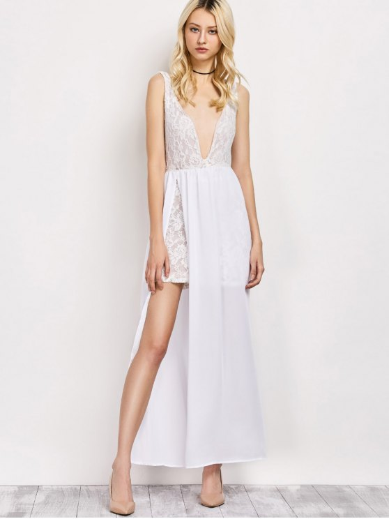 Lace Panel Slit Prom Dress - WHITE M Mobile