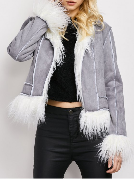 Faux Fur Trim Faux Shearling Jacket - GRAY M Mobile