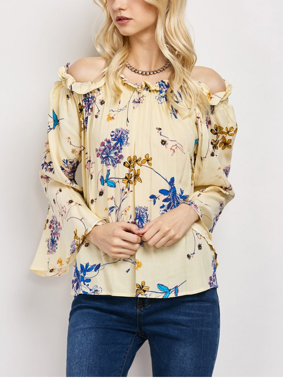 Off The Shoulder Flare Sleeve Floral Blouse - YELLOW M Mobile