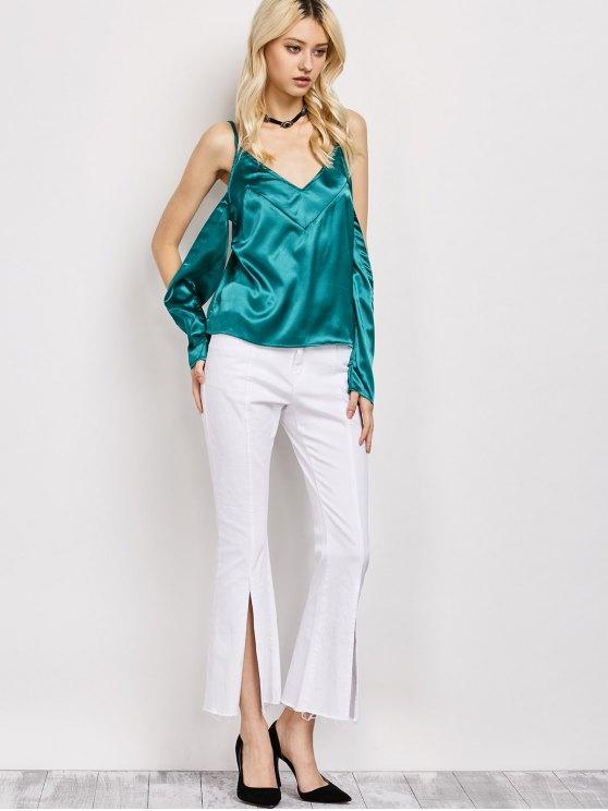 Cold Shoulder Satin Cami Top - GREEN L Mobile