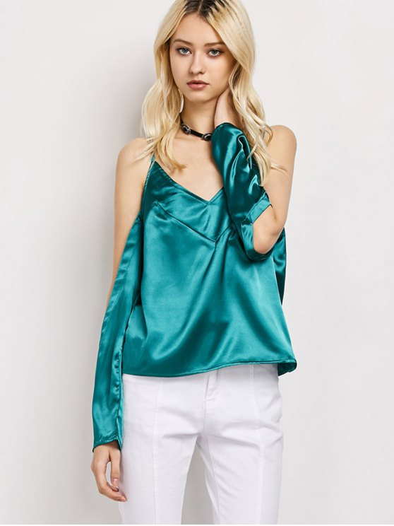 Cold Shoulder Satin Cami Top - GREEN S Mobile