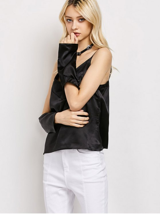 Cold Shoulder Satin Cami Top - BLACK S Mobile