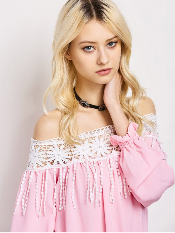 Cut Out Off The Shoulder Blouse - PINK L Mobile