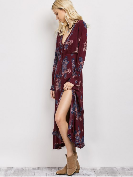 Vintage Loose Floral Dress - WINE RED L Mobile